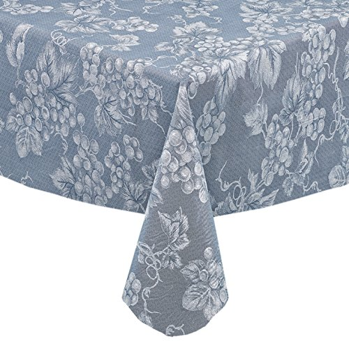 Grapevines Contemporary Grape Print Heavy 4 Gauge Vinyl Flannel Backed Tablecloth, Indoor/Outdoor Wipe Clean Tablecloth, 70 Inch Round, Blue
