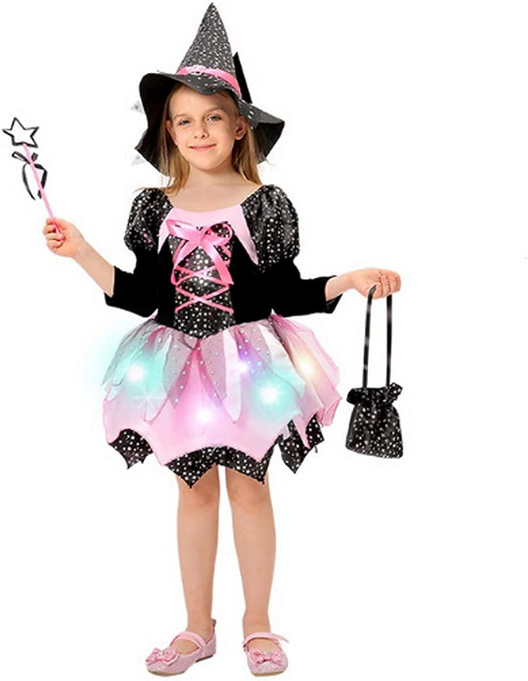 Girls Light-up Witch Halloween Costumes Kids Role Play Fancy Dress