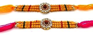 Set of Two Rakhi, Stone With Rudraksha Design Rakhi thread, Raksha bandhan Gift for your Brother, Maroon Color thread, Color Vary and Multi Design