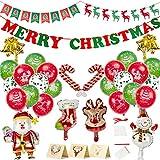 Decoraciones navideñas Globos Suministros para fiestas navideñas Kit de pancartas de fieltro, Papá Noel Elk Muñeco de nieve Globos de papel de aluminio, Adornos Navidad Fiesta Nochebuena
