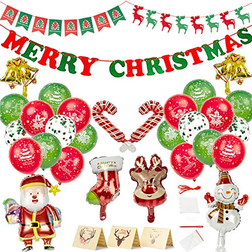 Ltrototea Christmas Decorations Balloons Merry Christmas Party Supplies Felt Banner Kit,Santa Claus Elk Snowman Foil Balloons,Christmas Ornaments with Xmas Card Party Eve Home Outdoor Decor