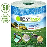 Grotrax Biodegradable Grass Seed Mat, Year Round Green - 50 Sq Ft Quick Fix Roll - All in One...
