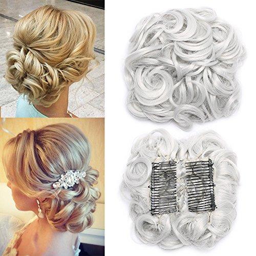 TESS Haargummi Haarteil Dutt Synthetik Haare für Haarknoten Zopf Gummiband Hochsteckfrisuren Haarband Grau