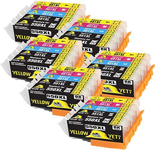 Yellow Yeti Reemplazo para Canon PGI-550XL CLI-551XL 30 Cartuchos de Tinta compatibles con...