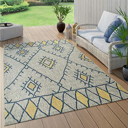 Paco Home Alfombra De Tejido Plano Interior Y Exterior Diseño Abstracto Geométrico Rombos Étnico Azul, tamaño:160x220 cm