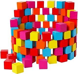 TOYANDONA 100pcs Wooden Puzzle Blocks Colorful Building Cube Puzzles Square Block Practical Ability Wood Toys Home Shcool ...