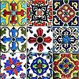 Mi Alma Tile Stickers Backsplash Tiles 6x6 Inch 24 pcs Talavera Tile Decals Application Design Ideal for Ceramic Glass Wood Bathroom Decals, Kitchen Decals Wall Decals (Decorative Tile Sticker)
