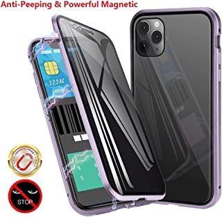 Anti-Spy Anti-Peeping Privacy Magnetic Case for iPhone 11 Clear Double Sided Tempered Glass [Magnet Absorption Metal Bumper Frame] Thin Anti-Spy 360 Full Protective Phone Case (Purple, 11 6.1