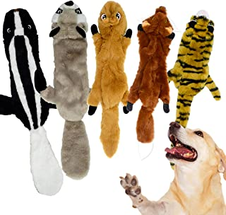 Dog Squeaky Toys No Stuffing, Durable Dog Plush Toys with Double Layer Reinforced Fabric Cute Animals Pet Chew Toys for La...