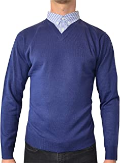Mens New Season V-Neck Knitted Jumper with Mock Shirt Collar Insert