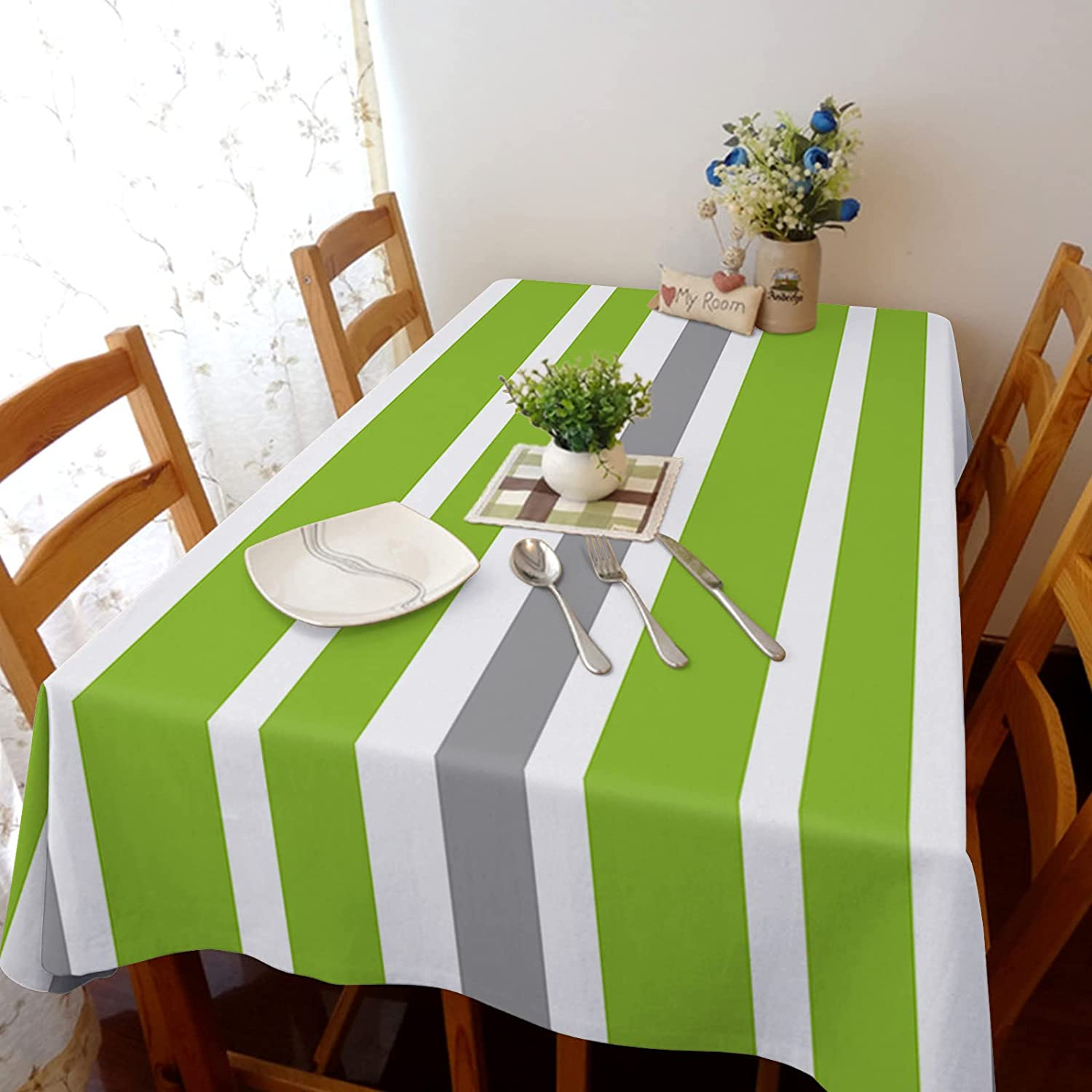 service TH XHome Tablecloth Linen Burlap Weights Whit Gray Fabric Green SALENEW very popular!