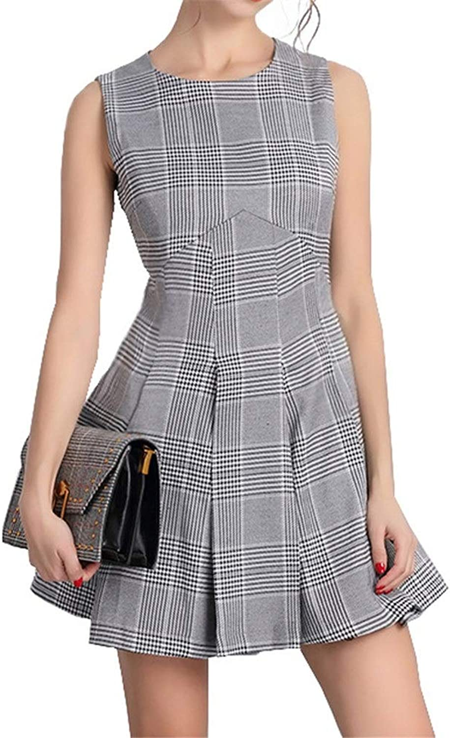 Ladies Summer Loose Casual Dress Women Sleeveless Pleated Plaid Swing Mini Aline Dress Clubwear Cocktail Party Fit and Flare Dress Formal Evening Dress Casual Business Office Dress For Summer Shoppin
