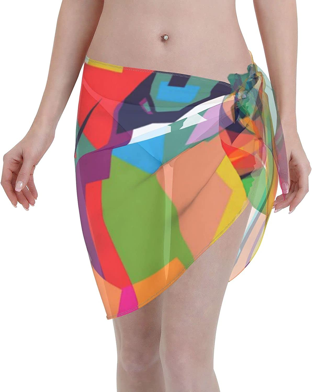 CHIC&TNK Women Short Sarongs Beach Wrap D Happy Thanksgiving Bikini Wraps Chiffon Cover Ups for Swimwear