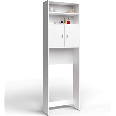 Meuble Étagère de rangement pour salle de bain toilettes Armoire Blanc avec portes 195x63x20cm