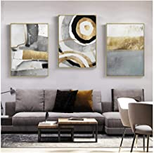 JHCT Canvas Prints Nordic Abstract Geometric Wall Art Canvas Painting Ink Gold Poster Print Wall Picture for Living Room Home Decor-40X60Cmx3 Pcs Frameless