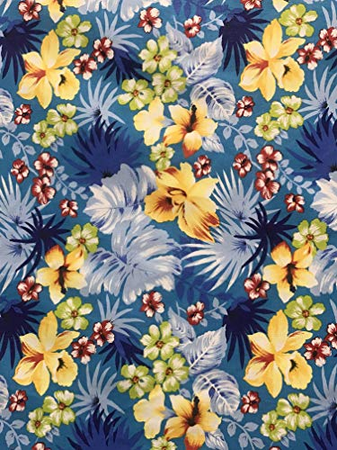 Sal Tex Fabrics, Hawaiian Flowers Print Poly Cotton Fabric, Sells by The Yard, All Have Different Background Color (Turquoise)