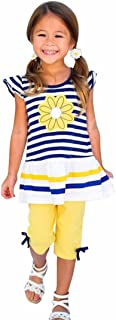 WensLTD Kids Girls Daisy Flower Stripe Shirt Top Bow Pant Outfits Clothes Set
