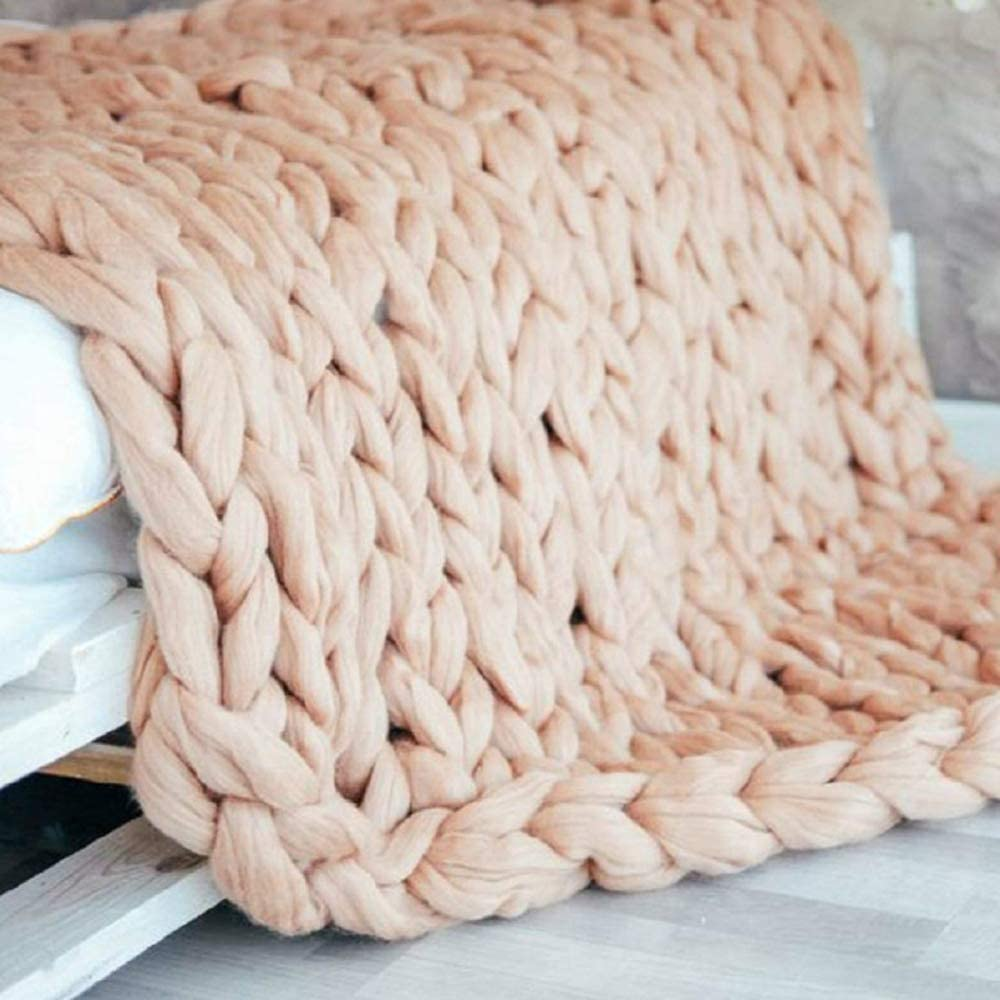 TRGCJGH Knitted Blanket,Chunky Knitted Blanket,Chunky Knit Throw, Handmade Chunky Knit Blanket Sofa Rug Soft Knitting Throw Anxiety Blanket,Black-60 * 80CM Khaki-100*150cm