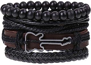 University Trendz Black Base Metal Leather Funky Multistrand Guitar Charm Bracelet for Men & Boys(Set of 4)(Multi Color)