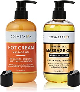 Anti-Cellulite Massage Oil & Hot Cream - 100% Natural Cellulite Treatment with Gel & Oil, Deeply Penetrates Skin to Break ...