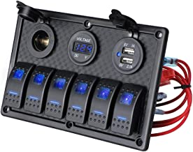 6 Gang Rocker Switch Panel - JOYHO Fuse Panel Waterproof, Digital Voltmeter Display, Dual USB Charger Port DC 12V Power So...