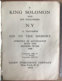 King Solomon and His Followers, A Valuable Aid to the Memory