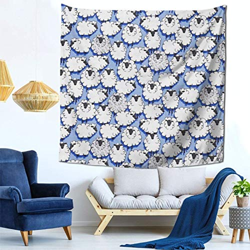 Wall Art Tapestries for Room Ewe Sheepish Blue Hanging Tapestry Wall Decoration, Washable Polyester Tapestries Easy to Clean, 59 By 59 Inches, ZENEGO
