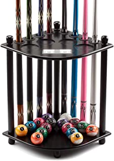 GSE Games & Sports Expert Corner-Style Floor Stand Billiard Pool Cue Racks with Score Counters. Holds 8 Pool Cue Stick and Full Set of Pool Balls