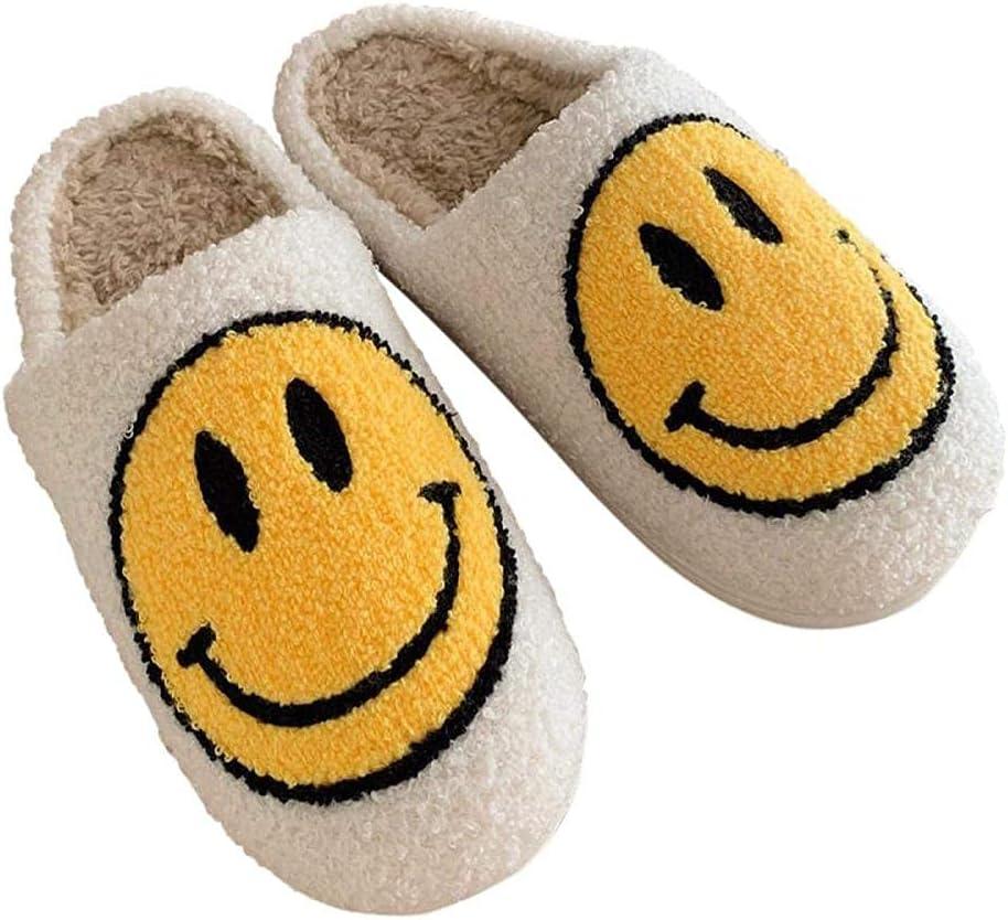 Molisi Women's Men's Smiley Face Plush Fluffy Slippers,Cute Smiley Face Slippers Soft Plush Comfy Warm Slip-on Slippers