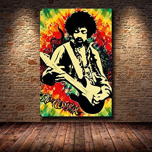WIOIW Famoso Cantante Estrella de la música Rock Jimi Hendrix Guitarra eléctrica Pintura en Lienzo Graffiti Arte de la Pared Póster Impresiones en HD Fans Dormitorio Sala de Estar Club Decoración