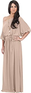 Womens Long Sexy One Shoulder Flowy Casual 3/4 Short Sleeve Maxi Dress