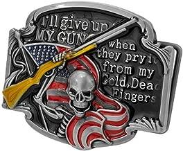 Pancy I'll Never Give Up Belt Buckle Gun Rights Shotgun Skeleton Flag Belt Buckle