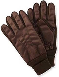 Mens Dark Brown Brushed Microfiber Gloves Thinsulate Lined With Cuffs