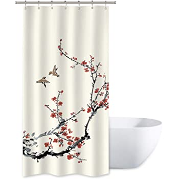 Sakura Tree Cherry Branches in Classic Asian Style Artwork Dark Coral Black Grey 36 W x 72 L Inches Fabric Bathroom Decor Set with Hooks Ambesonne Watercolor Flower Stall Shower Curtain