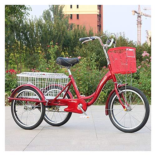 20 Zoll Dreirad Für Erwachsene 3 Rad Fahrrad Mit Großer Korb Seniorenrad Lastenfahrrad Zum Erholung Einkaufen Picknicks Übung Herren Damen Dreirad (Color : Red)