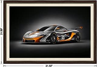 McLaren P1 GTR Design Concept (2014) Framed Car Art Poster Print Black/Orange Front Side Studio View in Dark Walnut Frame, 1