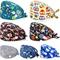 SATINIOR 7 Pieces Gourd-Shaped Working Hat with Buttons Sweatband Adjustable Caps Tie Back Hats Headwear Printed for Women Men