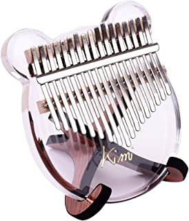 17 Keys Kalimba, Crystal Thumb Piano, Transparent Acrylic Material, with Tuning Hammer Portable Carry Bag, Musical Gifts for Kids Adult Beginners (Bear Shape)