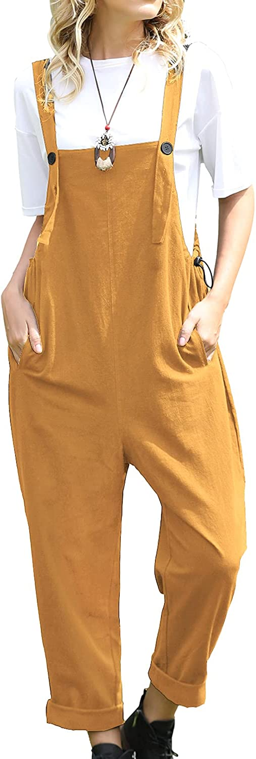 YESNO Women Long Casual Loose Bib Pants Special sale item with Overalls PV Selling Pockets