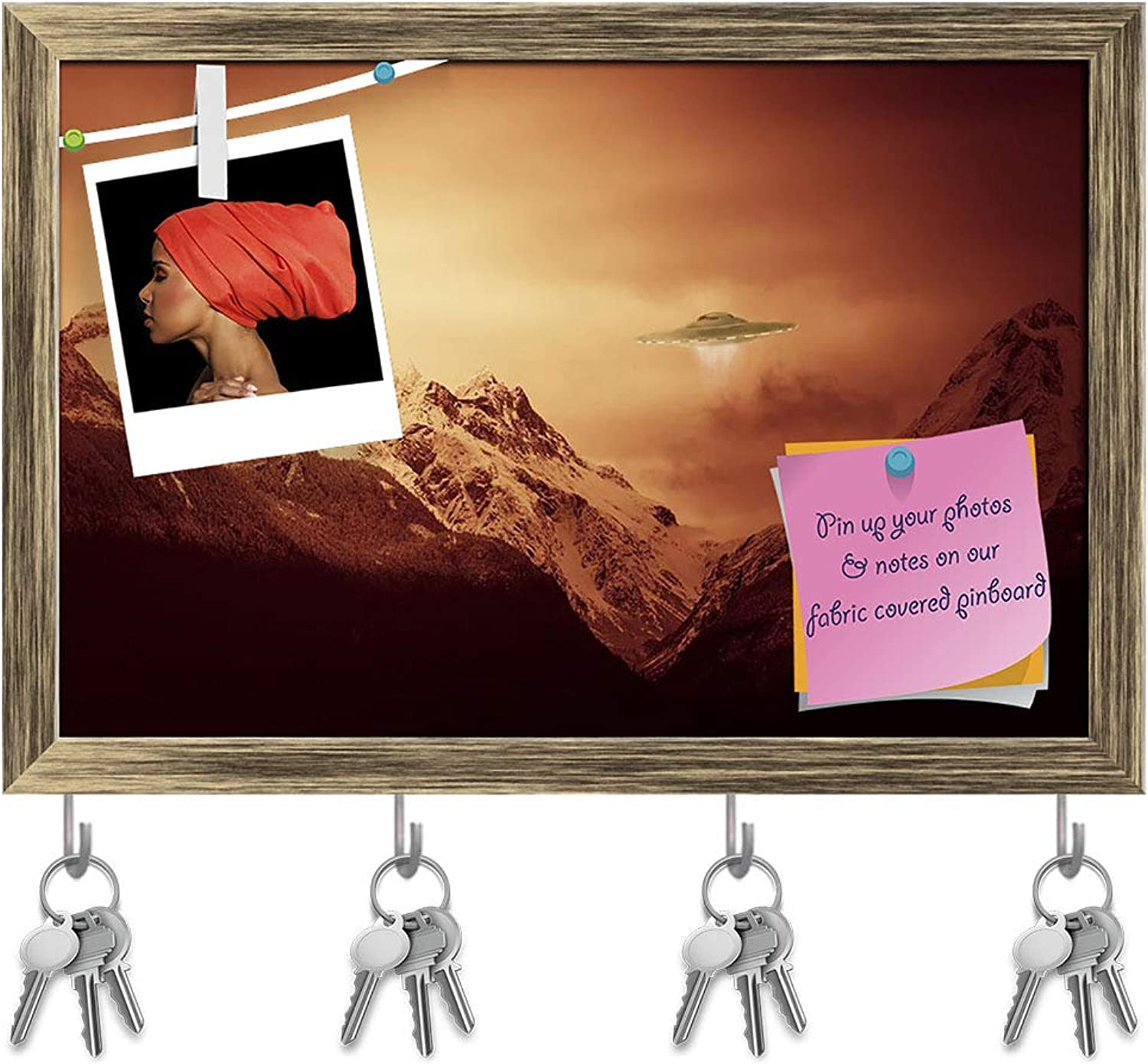 Artzfolio UFO Hovering Over Snow Covered Mountains Key Holder Hooks   Notice Pin Board   Antique golden Frame 17.7 X 12Inch