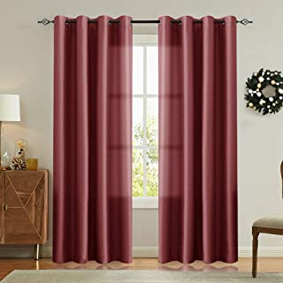 Vangao Burgundy Red Curtains 84 inches Long Faux Silk Opaque Curtain Light Filtering Living Room Satin Drapes Privacy Window Treatments Set for Bedroom, Grommet Top,2 Panels
