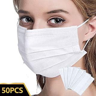 50枚 3層の不織布使い捨てほこりおよび飛沫保護、ホワイト 白