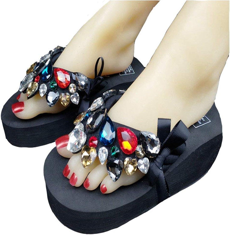 Wallhewb Womens Girls Ladies Platform Flip Flops Wedge Sandals with Crystal Butterfly Gems Slippers Rubber Sole No Griding Feet Dress Skinny Elegant Girls Sweet Joker Black 8.5 M US Slippers