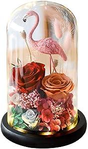 TATVT Flamingo, eternal rose, organic borosilicate glass cover, Valentine's Day creative gift, lover, romantic girl gift@B