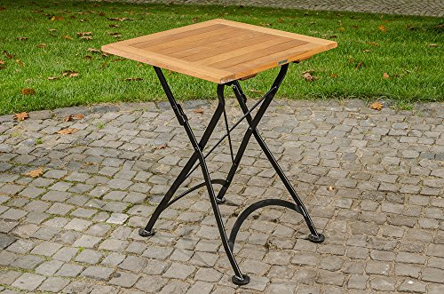 CLP CLP Teak Klapptisch Utara, 60 x 60 cm   handgefertigt   in romantischem Design   wetterfest   galvanisiertes Eisen Schwarz