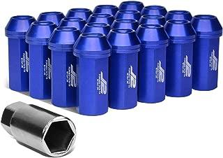 J2 Engineering LN-T7-005-125-BL Blue 20Pcs M12 x 1.25 7075-T6 Aluminum 50mm Close-End Lug Nut w/Socket Adapter