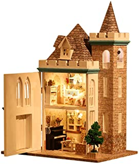 Dollhouse Miniature with Furniture, DIY Wooden Doll House Kit British Style Plus Dust Cover and Music Movement, 1:24 Scale...