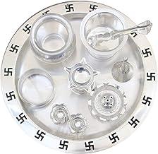 NOBILITY Silver Plated Swastik Puja Thali Set Glossy with Chandan Vati, Ghanti, Haldi Kumkum Holder, Agarbatti Stand, Diya...