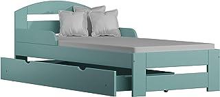 Children's Beds Home Lit Simple en Bois Massif - Kiko avec tiroirs sans Matelas (140x70 + tiroirs - sans Matelas, Turquoise)