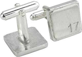 Square Cufflinks with '17' Engraved - 17th Anniversary